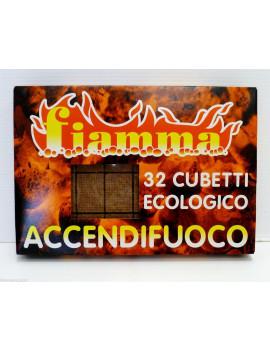 1 CONFEZIONE DA 32 CUBETTI ACCENDIFUOCO ECOLOGICO FIAMMA PER CAMINO STUFA CASA